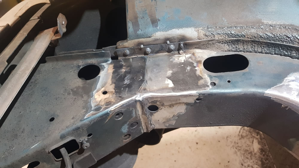 Audi 90 Chassis leg repair made to the large hole which was hiding under the airbox.
