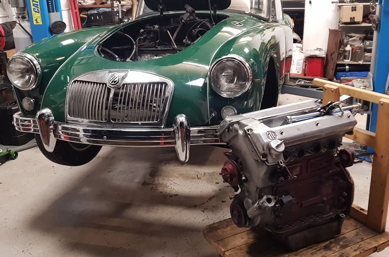MGA TWIN CAM WITH ENGINE REMOVED